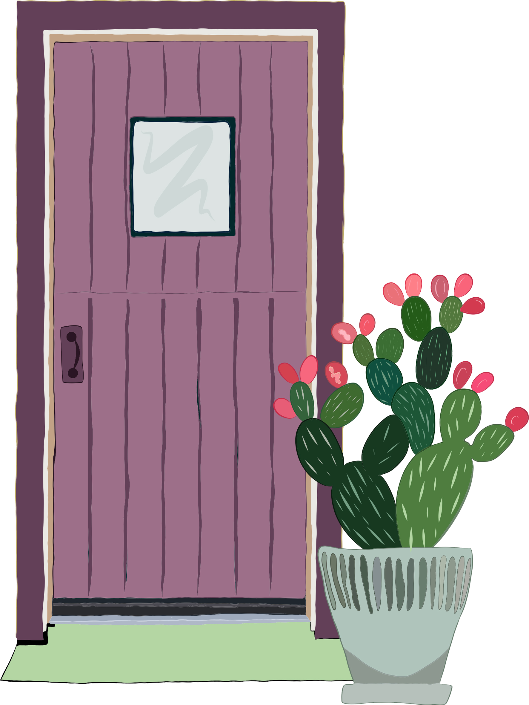 Illustration of purple front door with potted prickly pear cactus.