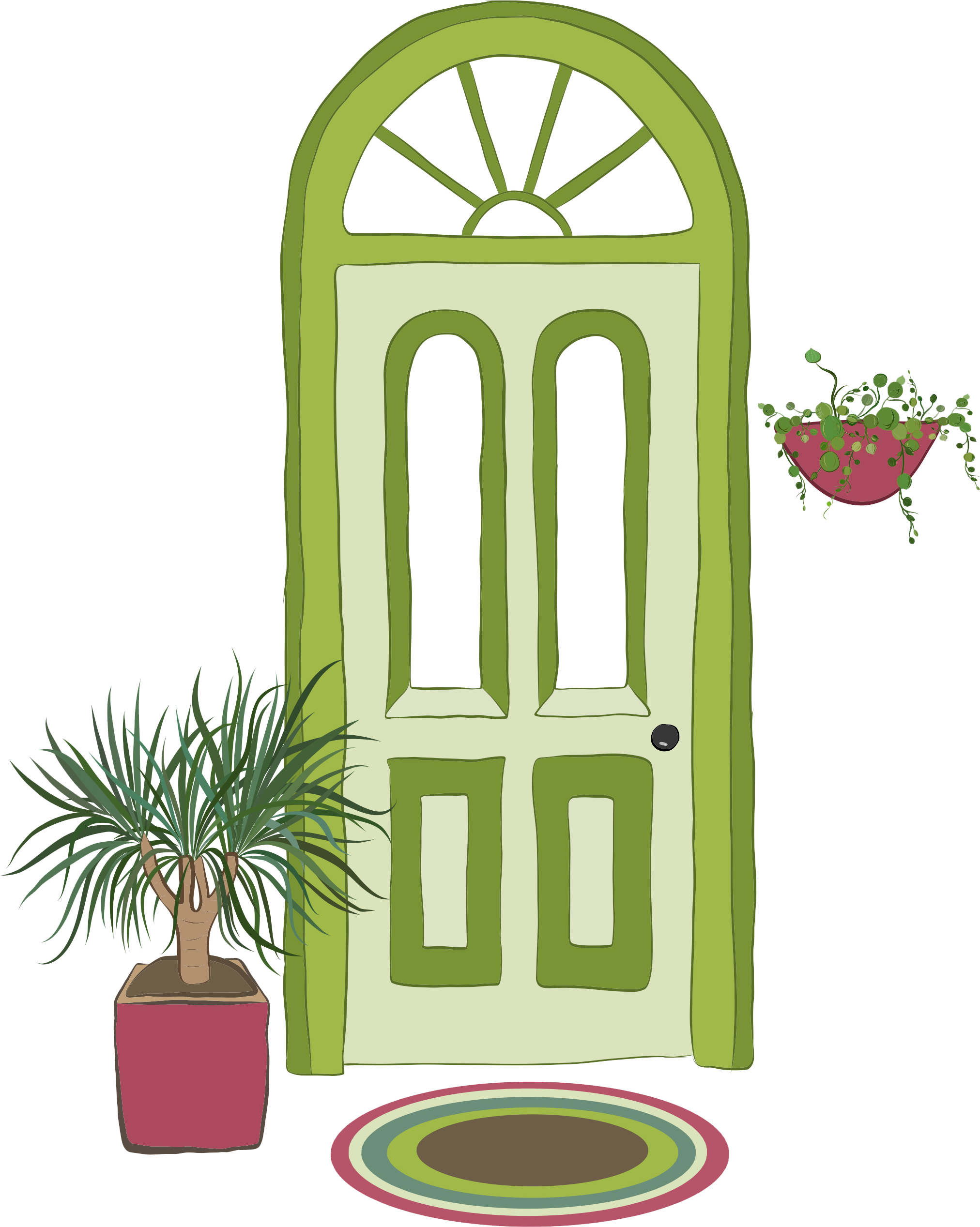 Illustration of green front door with welcome mat and plants