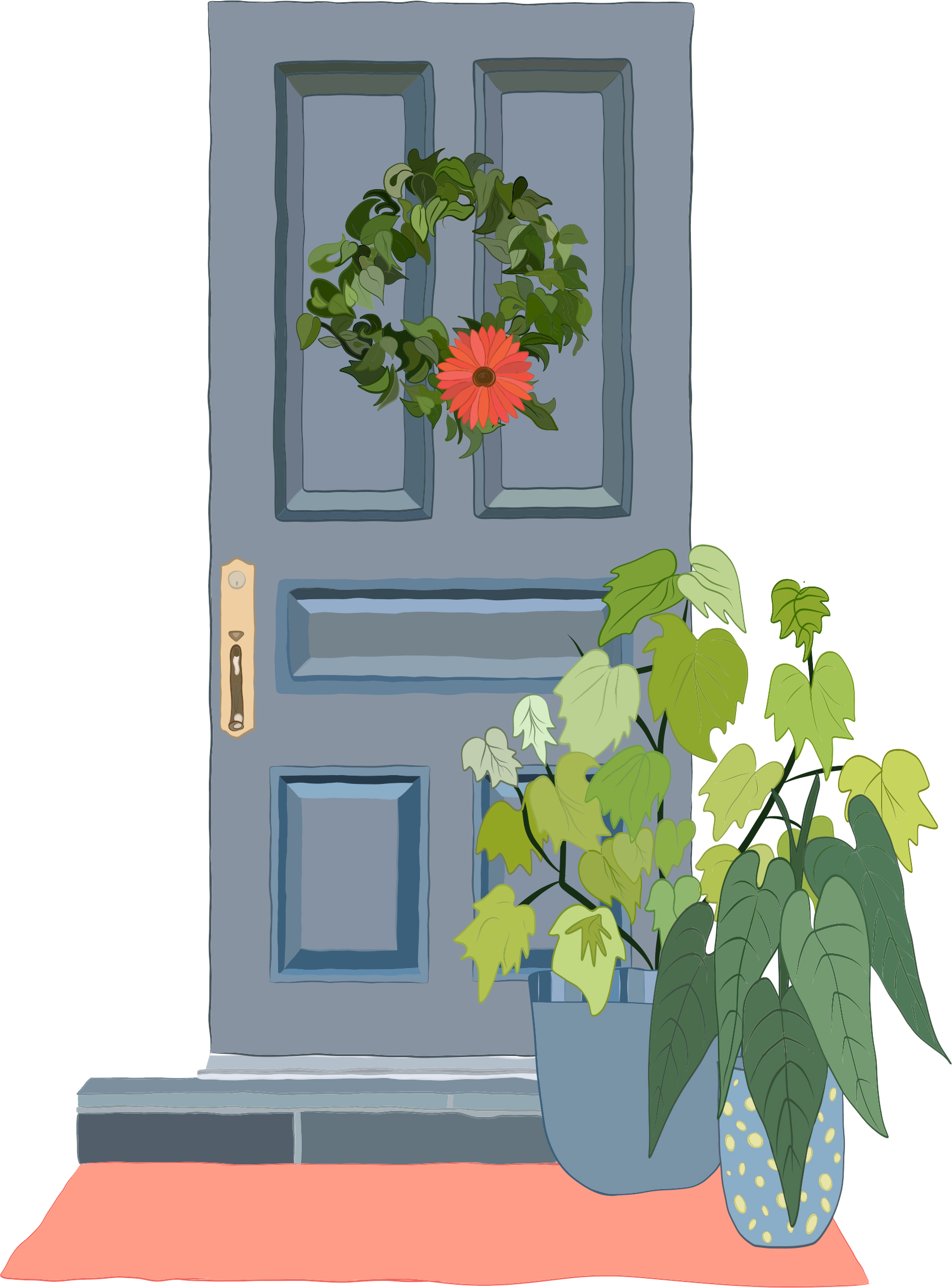 Illustration of blue front door with wreath and plants