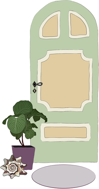 Illustration of front door with greenery and shell accents.