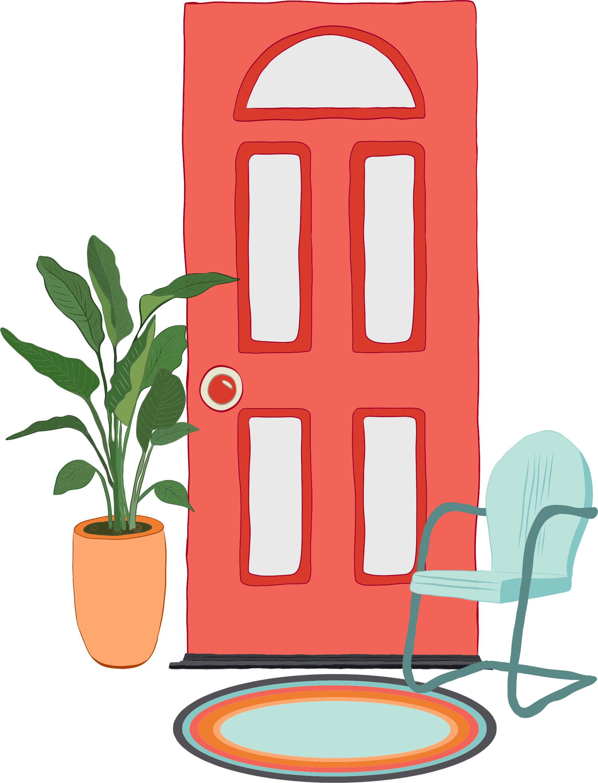 Illustration of red front door with casual chair, rug, and plant.