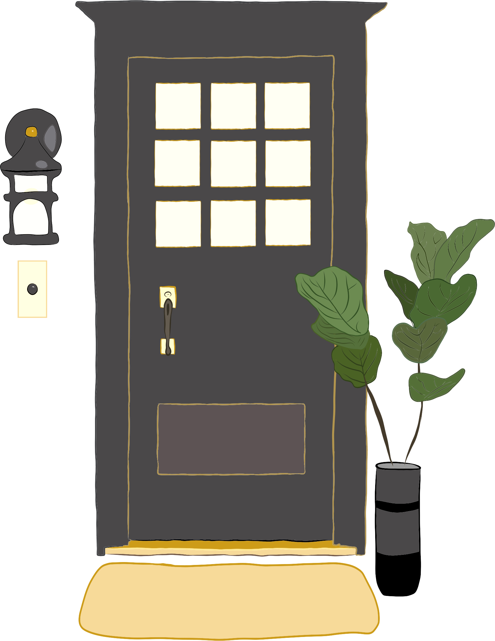 Illustration of black door with gold accents, including doorbell, porch light, floor mat and plant.
