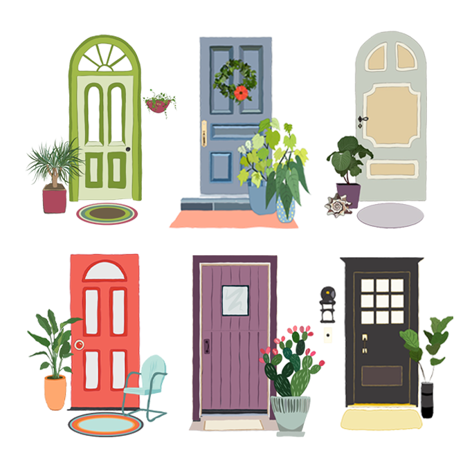 Six Halfway Houses illustration with each house represented by a different type of front door.