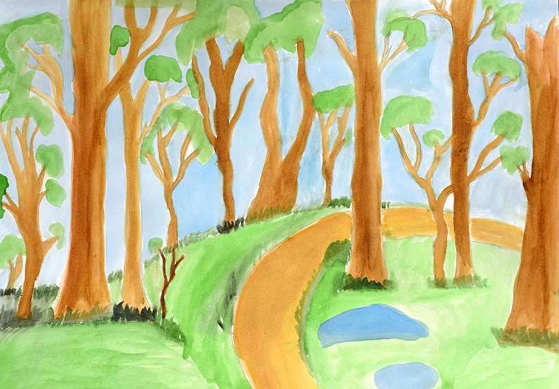 "Photo of watercolor artwork,""Hundred Acre Wood"", by ""Carlos"""